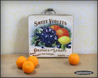 Miniature advertising sign, kitchen wall sign, wooden sign, 12th scale dollhouse miniature, doll house decor