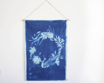 One of a Kind Blue Hand Dyed and Embroidered Botanial Wreath Sun print Wall Hanging