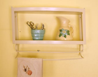 Vintage Wall Shelf, Painted Metal Shelf, Two Tiered Shelving, Bathroom Kitchen Shelf, Towel Bar Rack