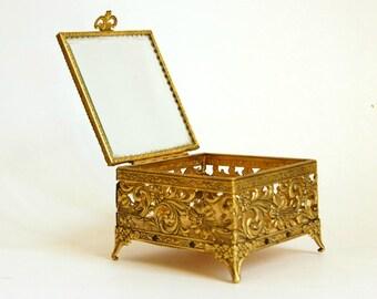 Vintage Jewelry Box, Gold Trinket Box, Ormolu Box, Jewelry Casket, Beveled Glass Lid, Glam Decor