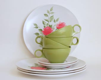 Melamine Dinnerware Set, Vintage Plastic Dishes, Pink Rose Dishes, Avocado Cups, Four Place Settings