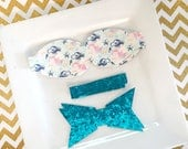READY to SHIP Wool Felt 2.5 inch chunky bow  DIY mermaid in blue with turquoise glitter tail and center Set of 2