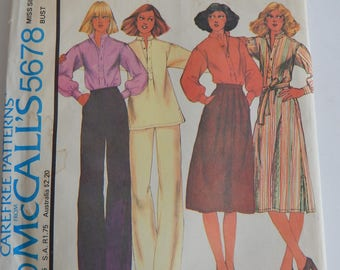 """Vintage 1970s Sewing Pattern, McCall's 5678, Misses' Dress or Top, Skirt and Pants, 34"""" bust; 26.5"""" waist"""