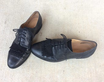 vtg 80s wingtip BLACK LEATHER faux reptile OXFORDS lace up 8.5 preppy flats boho shoes retro brogues hipster indie suede