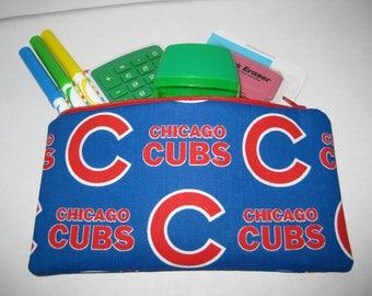 Chicago Cubs Baseball Team Zipper Pencil Case Or Cosmetic