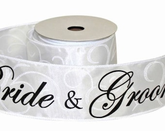 Bride and Groom Ribbon, Crisp White with Swirls, 2 YARDS, 2 1/2 inch, Wide and Wired, Engagement parties, Bridal Showers, Weddings, Wired