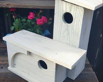 Garden decor,Rustic double birdhouse,primitive wooden birdhouse,farmhouse, distressed,garden decor,outdoor birdhouse,unique birdhouse,white