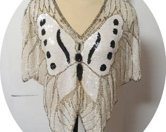 Vintage Sequins Silk Butterfly Top India   #087