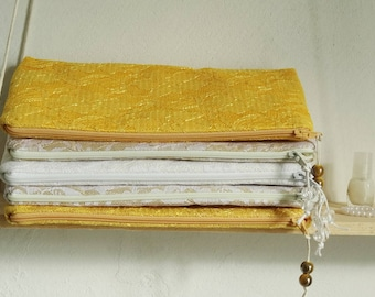 Yellow Lace Wedding Clutch Bag Bride Bridesmaid Gift Purse Gold White Bridal Handbag