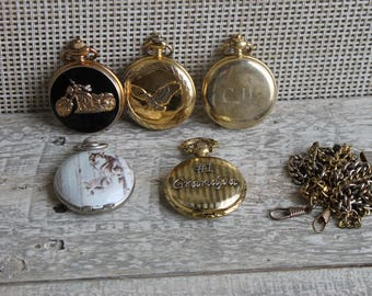 5 Pocket Watches, Motorcycle, Eagle Grandpa, Wolf, CJL, Milan, Embassy, Rumours, Pocket Watch Chains 3, FREE Domestic Shipping