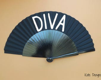 Diva Black White SIZE OPTIONS Hand Fan Folding Wooden Handheld Hand Painted by Kate Dengra Spain
