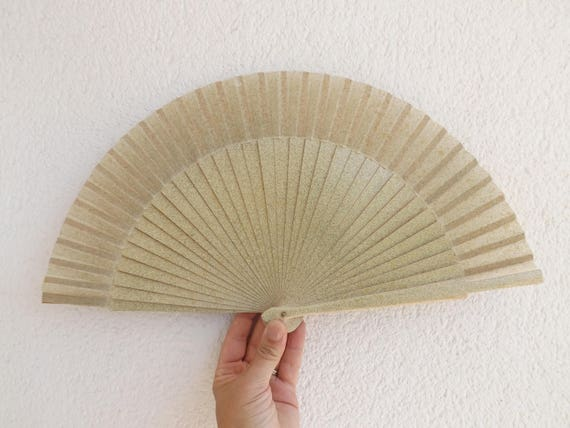 Cream Moss Green and Gold Splash Hand Fan