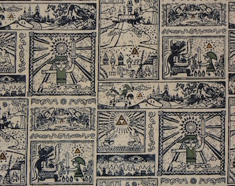 Zelda Fabric, 8 Yards, Legend of Zelda, Wind Waker, Nintendo Fabric, Neutral Comic, Comic Strip Fabric, Cotton Fabric
