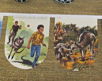 Skippy The Kangaroo Bunting. Bush Australiana Children Garland Nursery Decor. Banner White Boys Girls. Koala Animals Domum Vindemia