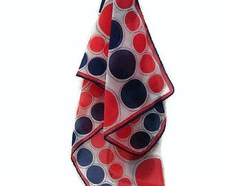 70s Polka Dot Scarf, Red White Blue Scarf, Long Neck Scarf, Oblong Scarf, 1970s Chiffon Scarf, Head Scarf Long  Scarf, Long Fashion Scarf