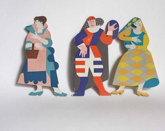 Vintage puppet theatre, art deco figurines, papered wood figurines, costume puppet theatre, nursery decor, personalisation figures man woman