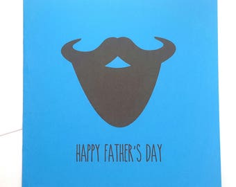 Father's Day Beard Card- Grey or Blue