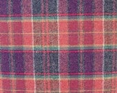 Red and Blue Plaid Worsted Wool Fabric, 100 Percent Worsted Wool, Fabric by the Yard