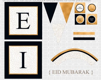 DIY EID Mubarak Party Theme - Instant Download - Eid banner, Eid party decor, Eid decorations, Black and Gold