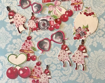 Summer Fresh Diva Cherry HUGE lot of 13 decorative planner stickers