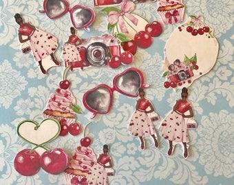 Summer Fresh Diva Cherry HUGE lot of 13 decorative planner stickers