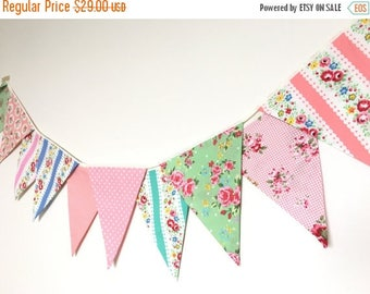 ON SALE Shabby Chic Fabric Banners, Bunting, Garland, Wedding Bunting, Pennants, Flags, Pink, Blue, Green and Peach- 3 yards