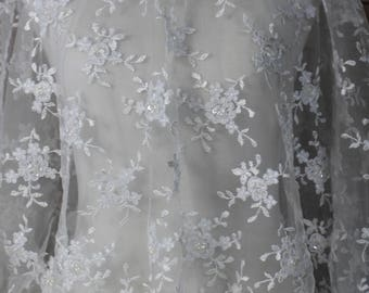 Ivory Lace Tulle Fabric with floral pattern, and scalloped edges,  Dresses, Gowns, Bridal wear, Apparel, Accessories
