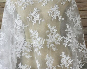 White Lace Fabric - Allover Embroidery with scalloped edges on both sides. Bridal Wear, Formal Gowns, Veils, Gloves, Cape Bolero Shrug