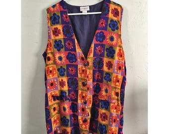 90's Floral Colorblock Sleeveless Oversized Top