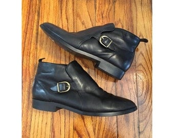 Vintage Black Leather Ankle Boots, Size 8.5