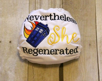 Nevertheless She Regenerated Embroidered One Size Pocket Cloth Diaper, Reusable Cloth Diaper, One Size Cloth Nappy, One Size Cloth Diaper