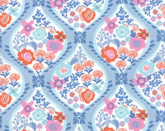 Kate Spain Voyage Fabric by the Yard, Meuse in Baltic Blue, Moda Fabrics, 27280-13
