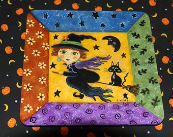 Halloween Decoration Folk Art Square Plate, Witch Flying on Broomstick, Black Cat, Man in the Moon, Stars, Bright Colors, MADE TO ORDER