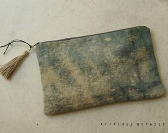 Linen Pouch. Boho clutch bag. Bag divider. passport ticket organizer. cosmetic pouch. wallet linen purse. Clutch bag. Bag in bag.