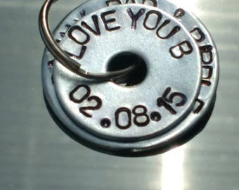PERSONALISED hand-stamped 2 DISC steel keyring  - wedding favours - coordinates - mummy/daddy gift - coordinates - anniversary - unique,