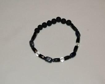 Mens Bracelet Hematite Sodalite Clear Quartz Lava Bead Bracelet for Men Sodalite Jewelry for Men Gift Ideas for Him