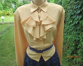 Womens Blouse / Blouse Vintage / Yellow Blouse / Size EUR 46 X UK18 / Buttoned Blouse