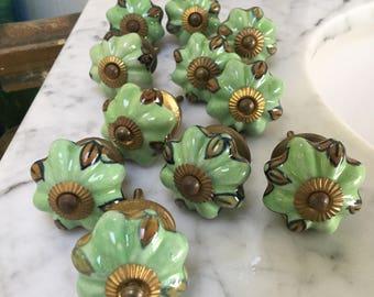 Vintage Ceramic Green draw knobs set 11