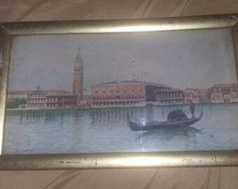Antique Painting Signed Venice Italy Gondolas Watercolor Italian