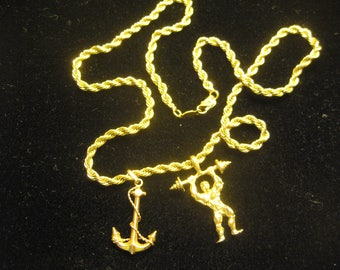 14k Gold Rope Chain 21g with Navy Anchor and Weightlifter Charms vintage 90s