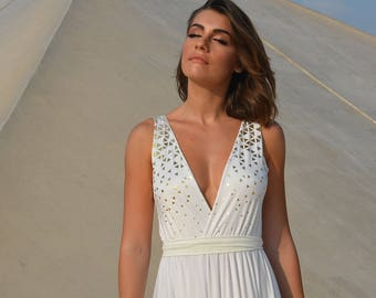 Alternative wedding dress with golden print, boho wedding dress, beach wedding dress, Simple wedding dress, casual wedding dress, golden