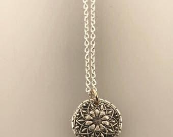 Mandala Handprint necklace, baby handprint, Two tone, Sterling Silver, 14K GF