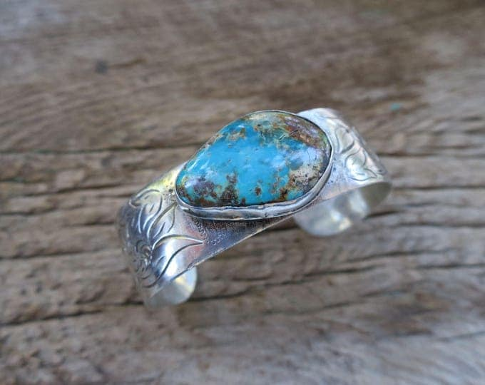 Vintage Engraved Turquoise Cuff
