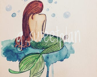 Mermaid watercolor digital print