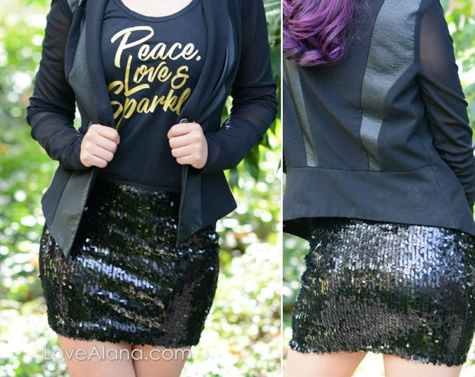 Free Shipping! Little Black Sequin Skirt - High Quality, Stretchy, Beautiful Mini Party Skirt  - Runs small