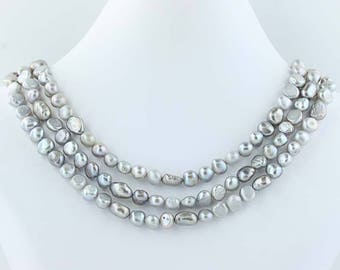 """3-Strand Gray Freshwater Pearls Necklace Beaded Statement 18""""-20.5"""" Poly1109"""