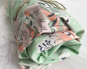 Mint Peach Baby Bedding / Fitted Crib Sheet / Mint Crib Bedding, Floral Baby Bedding, Baby Girl Nursery, Crib Bedding Girl, Crib Bedding