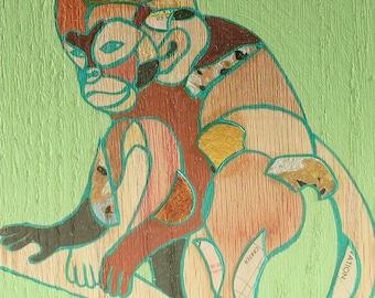 Monkey mini painting on wood 43