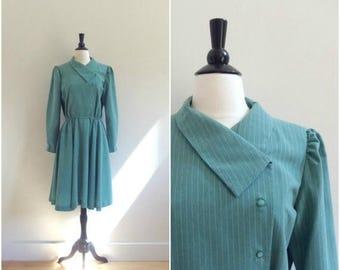 SALE Vintage mid century moss green pinstriped shirt dress / long sleeve feminine full skirt dress / asymmetrical collar