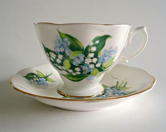 Royal Albert Tea Cup and Saucer Lily of the Valley Flower Vintage Teacup